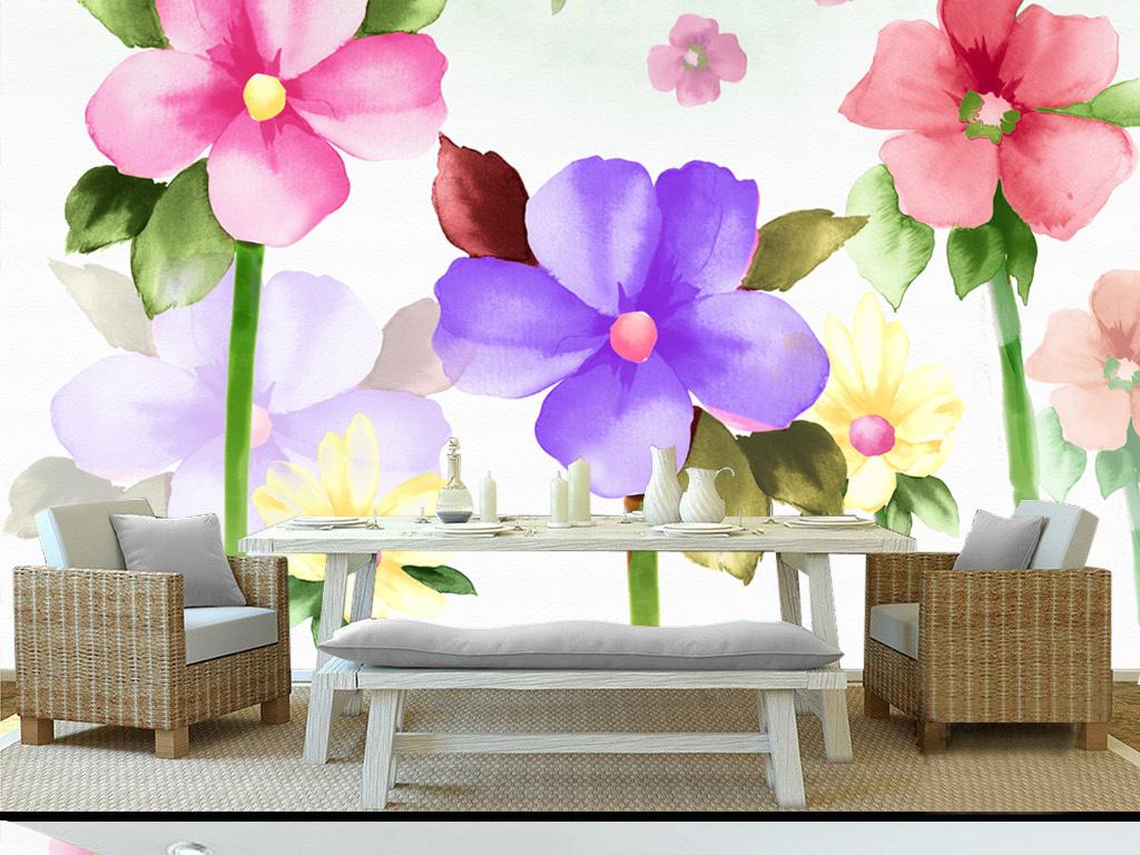 手绘水彩花朵田园背景墙