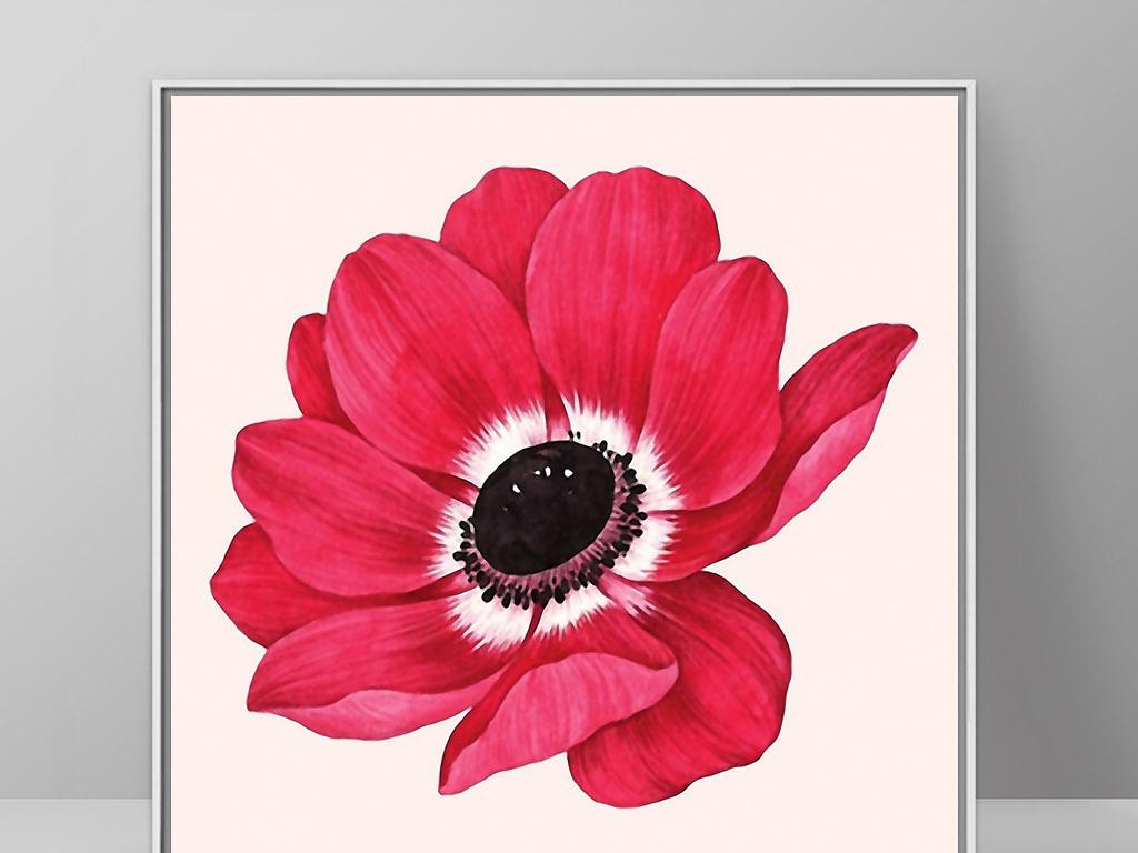 现代手绘现代清新一朵大花一朵小花花开一朵花一朵开一朵花一朵花图片