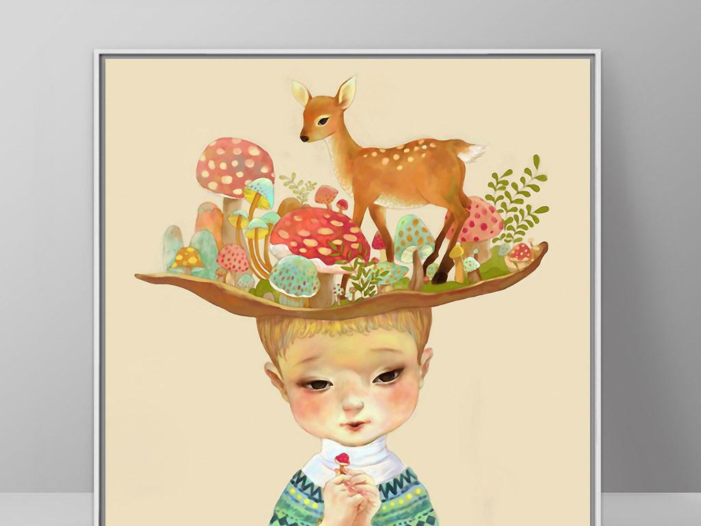 现代森系手绘男生图片