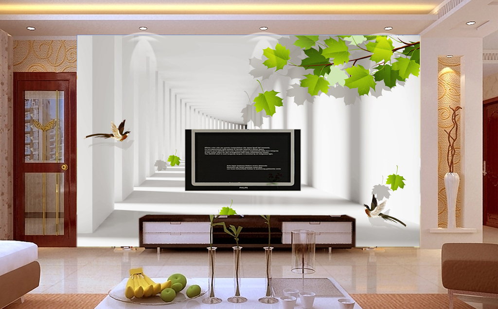 3D立体走廊绿树飞鸟背景墙壁画图片