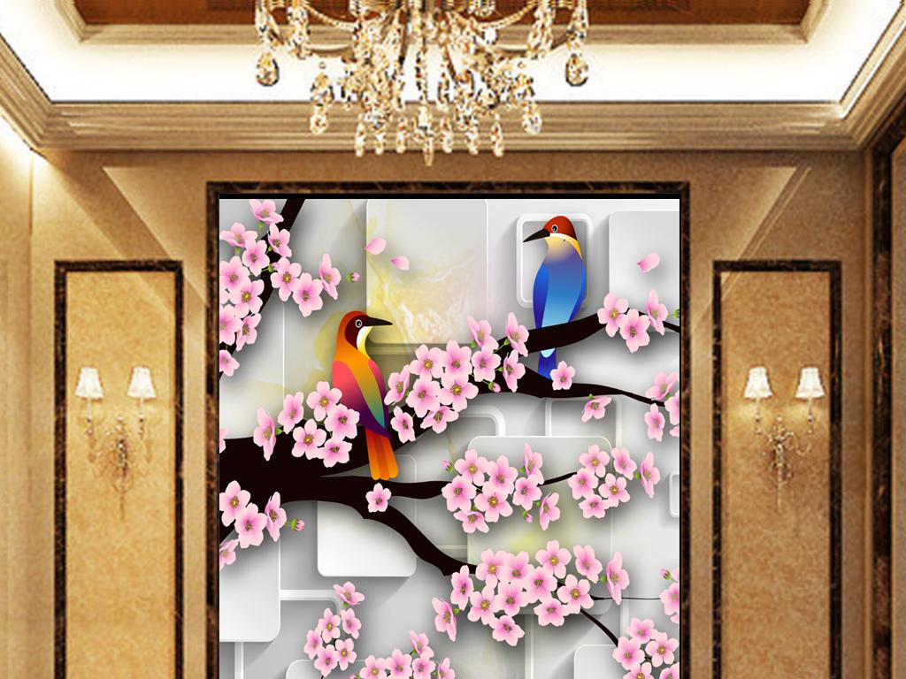 欧式玄关玄关背景壁画玄关装饰画走廊背景墙壁纸梅花