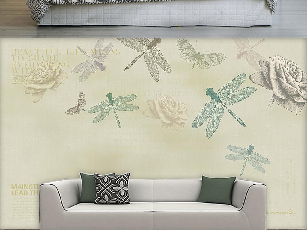 背景墙|装饰画 电视背景墙 手绘电视背景墙 > 北欧手绘复古玫瑰花蜻