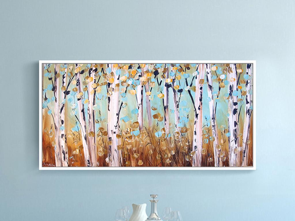 白桦林现代手绘