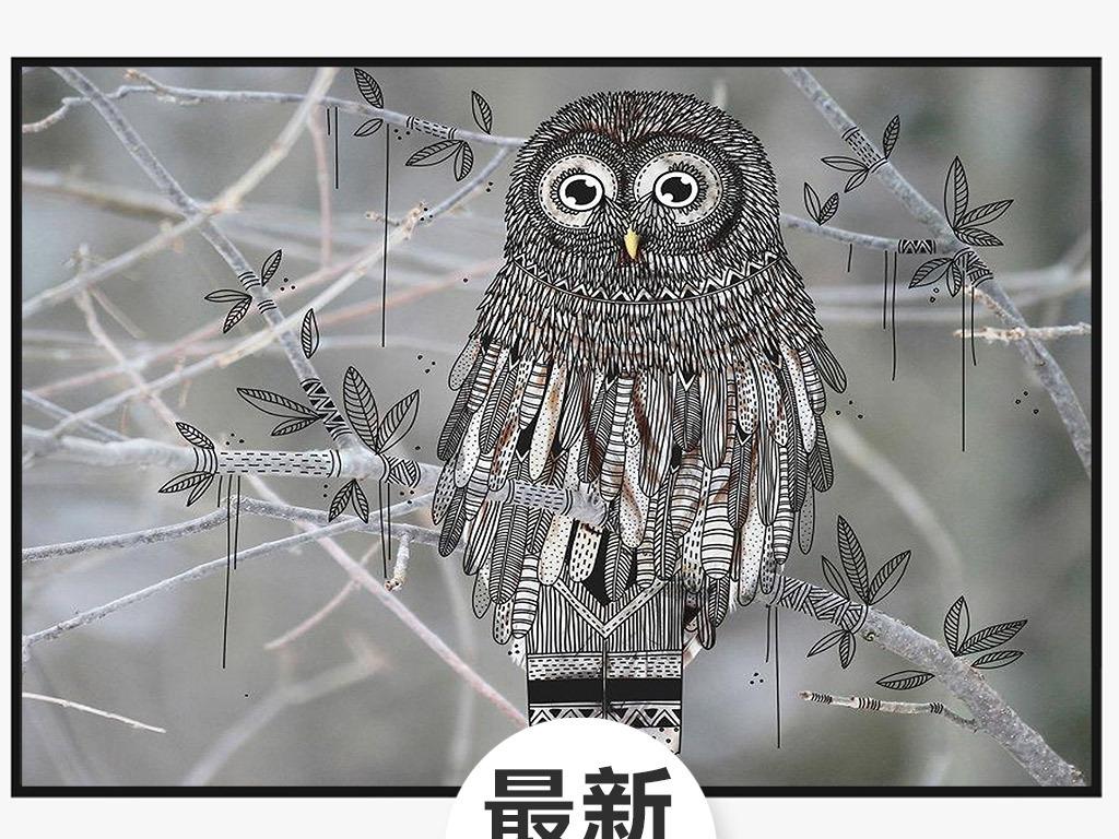 动物图案无框画 > 高清图片创意涂鸦猫头鹰彩绘北欧