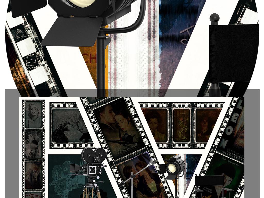 复古怀旧欧美老电影海报电视背景墙壁画