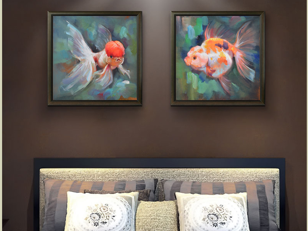 手绘鸿运金鱼装饰人物抽象画现代抽象画抽象画图片