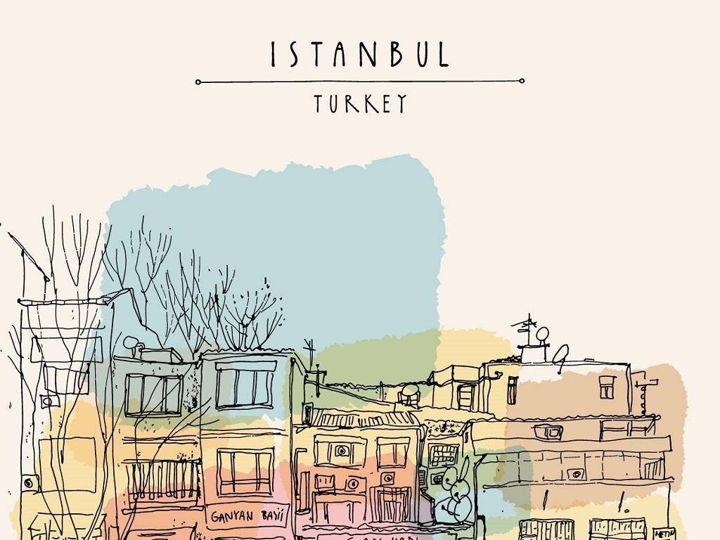 耳其伊斯坦布尔城市街景手绘矢量背景图片下载eps素材 其他图片