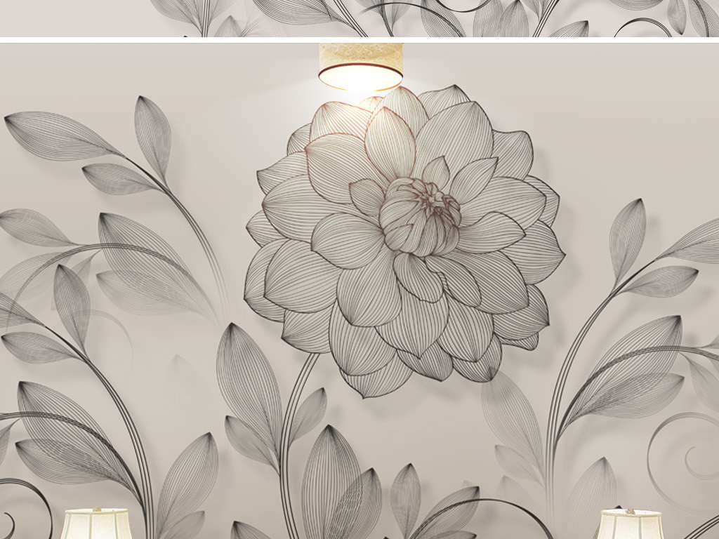 电视背景墙 中式电视背景墙 > 新中式简约中国风现代线描花卉室内背景
