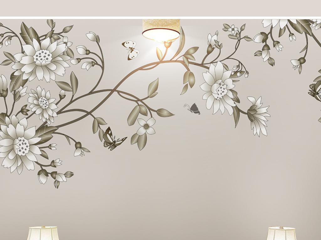 简约现代手绘花卉新中式中国风背景墙电视墙