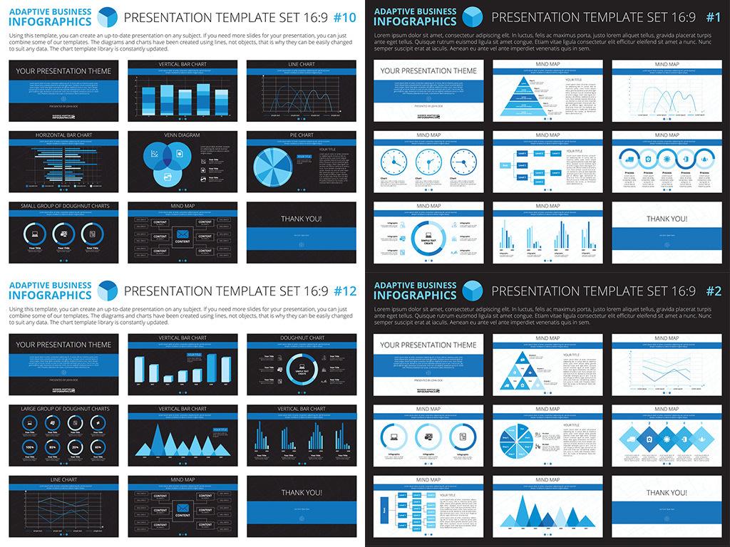 28套商业统计PPT矢量信息图表