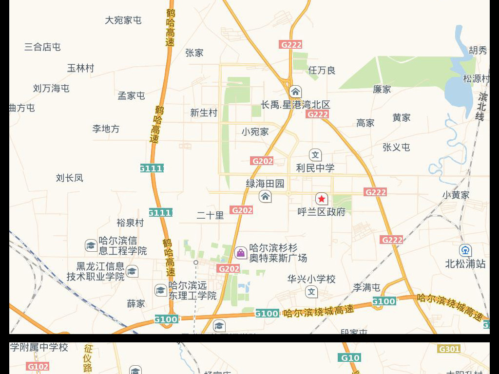 高清哈尔滨市电子地图图片素材下载