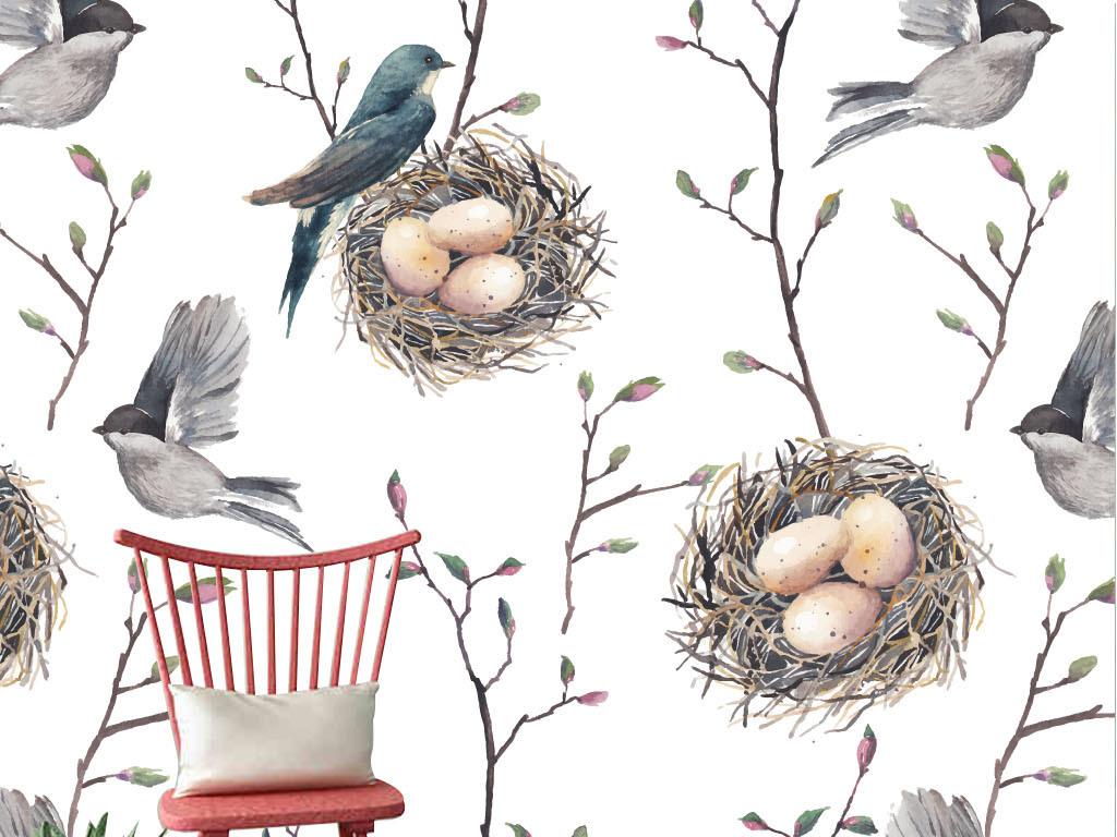 卡通手绘彩铅鸟