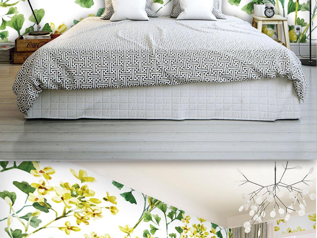 清新手绘绿色花朵树叶背景墙壁纸墙纸