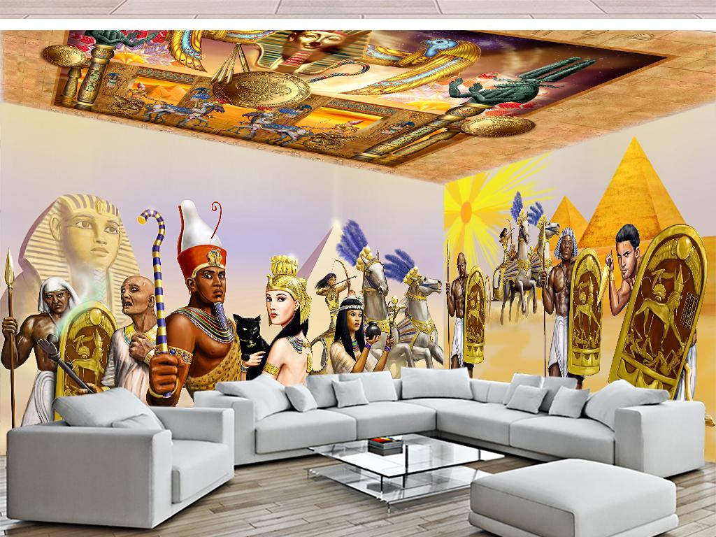 古埃及金字塔埃及艳后法老狮身人面像马车主题空间主题背景主题空间空