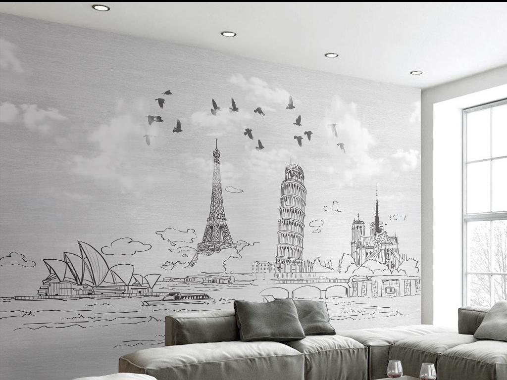 简约手绘线条城市背景墙