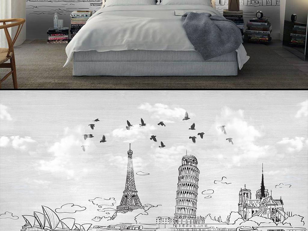巴黎铁塔悉尼简约浪漫极简线条手绘背景城市背景手绘