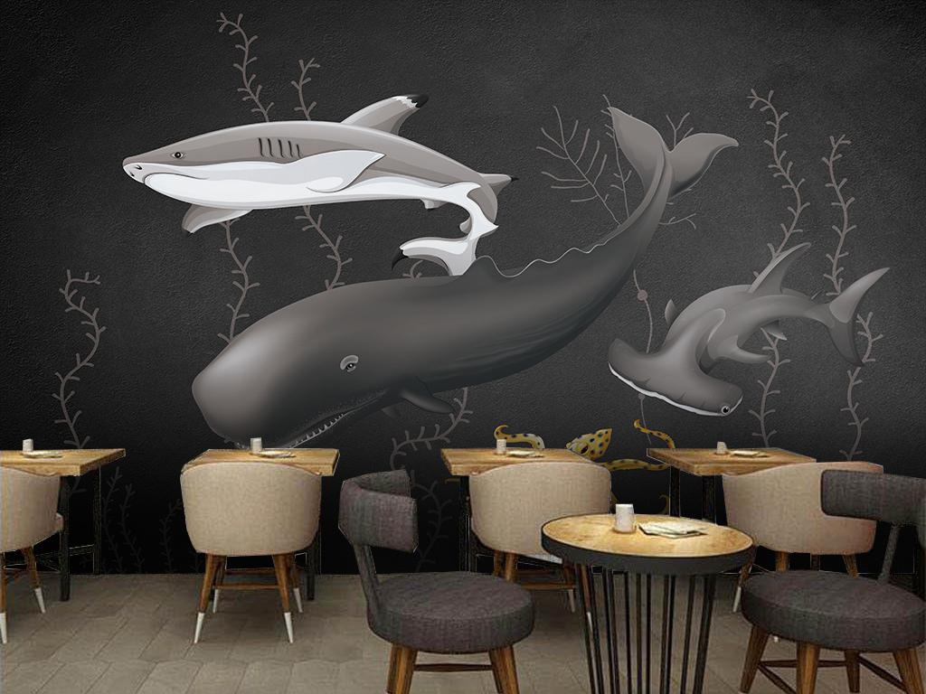 手绘鲨鱼海草潮流海底黑白个性个性背景黑白背景世界海底背景黑白个性