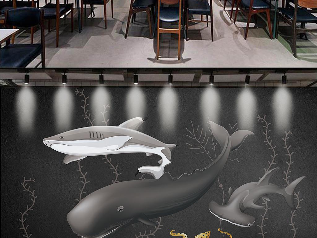 海洋创意手绘黑白画