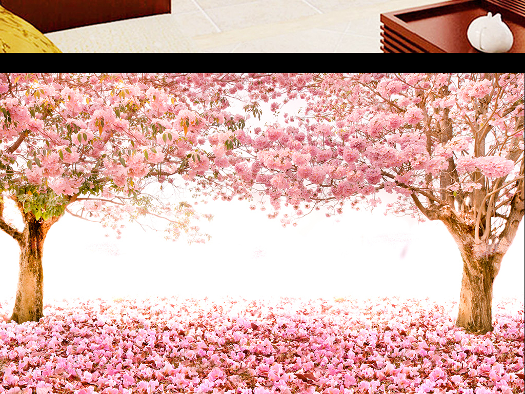 欧式电视背景墙 > 樱花树