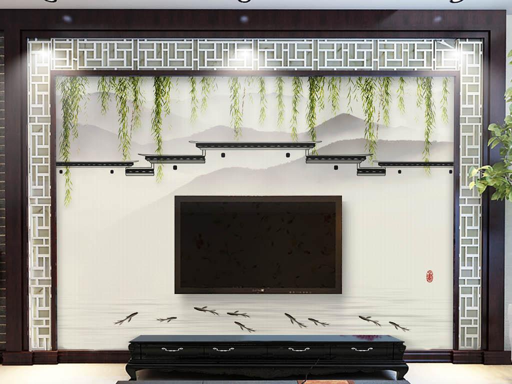 背景墙|装饰画 电视背景墙 中式电视背景墙 > 中式素雅水墨屋檐大气图片
