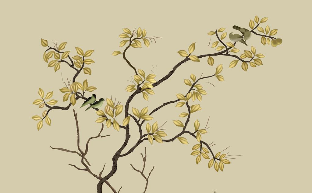 欧式手绘中式花鸟背景墙