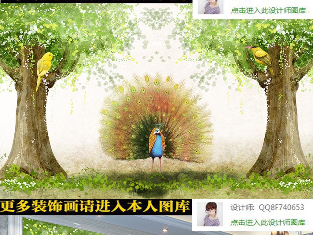 大树手绘开屏迎客松壁画客厅壁画幼儿园壁画壁画图片3d壁画玄关壁画