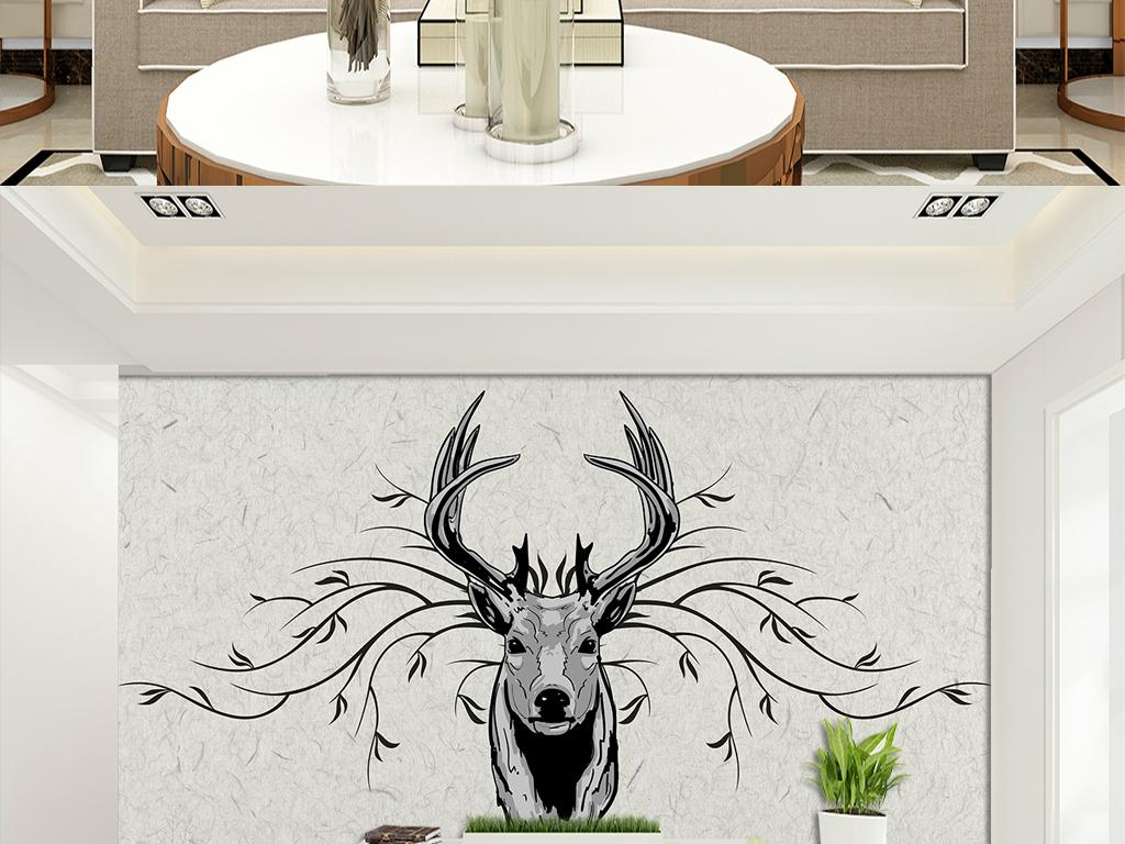 梅花鹿北欧欧式艺术画手绘墙手绘背景墙室内装饰