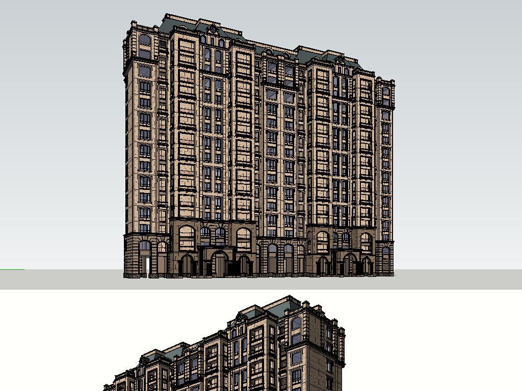 法式高层建筑草图大师su模型