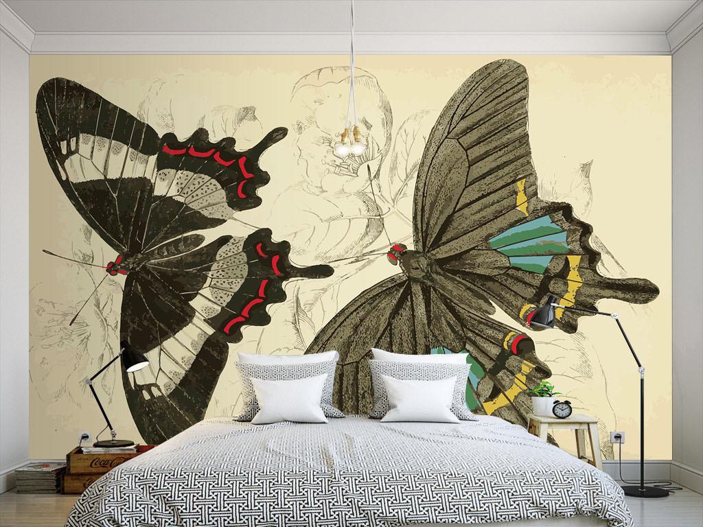 美式风格手绘蝴蝶墙纸图片