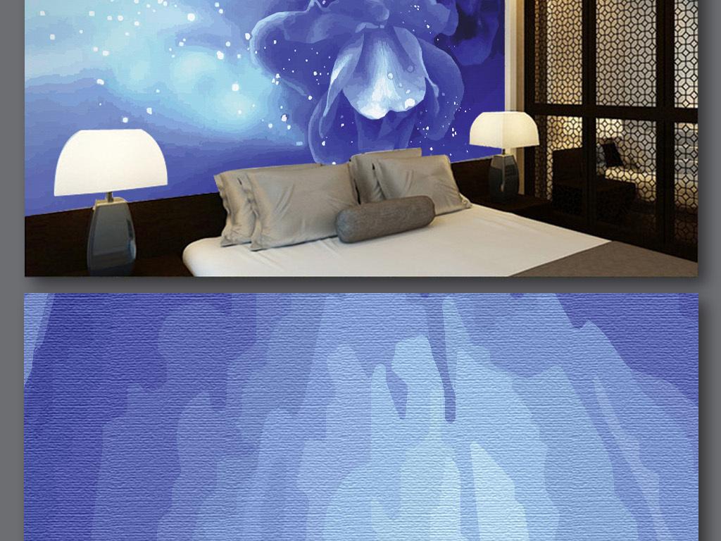 手绘蓝色玫瑰背景墙(图片编号:15973911)_电视背景墙