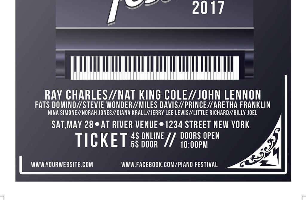 黑白设计欧式简约钢琴音乐会psd宣传海报