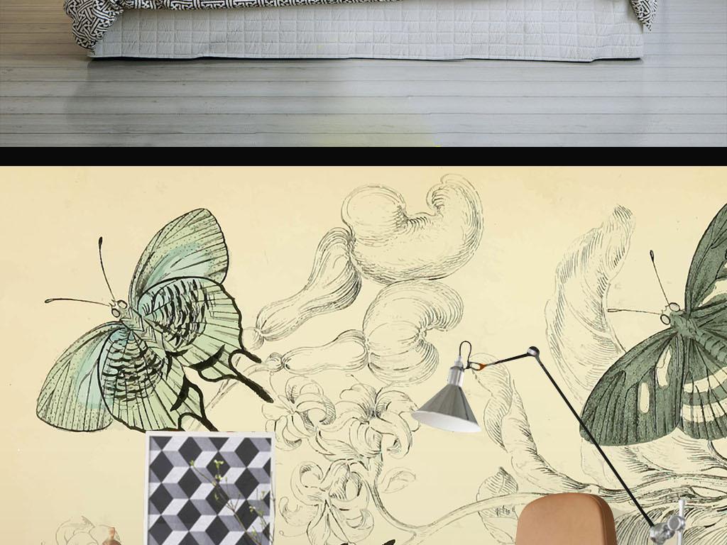 美式手绘蝴蝶花朵墙纸(图片编号:15974060)_美式墙纸图片