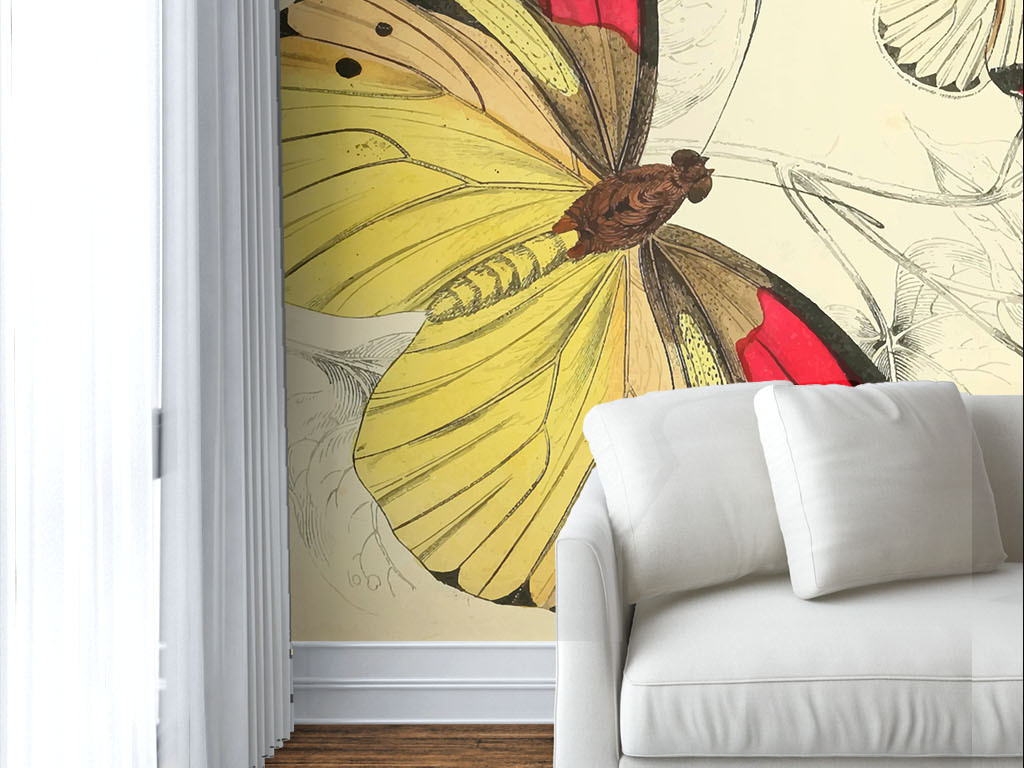 美式风格手绘蝴蝶植物花朵墙纸