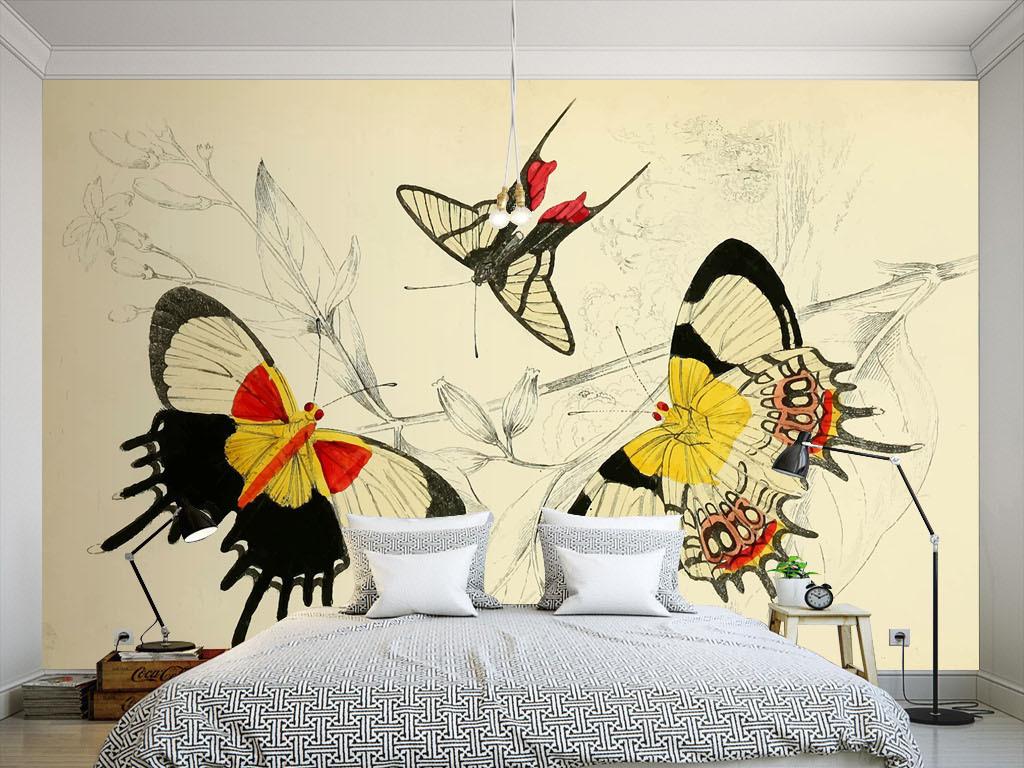美式手绘植物花朵蝴蝶墙纸