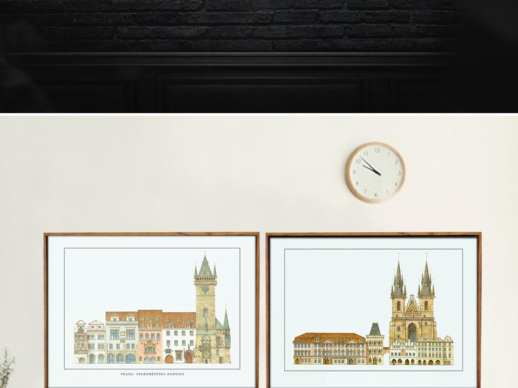 现代简约北欧建筑手绘无框画