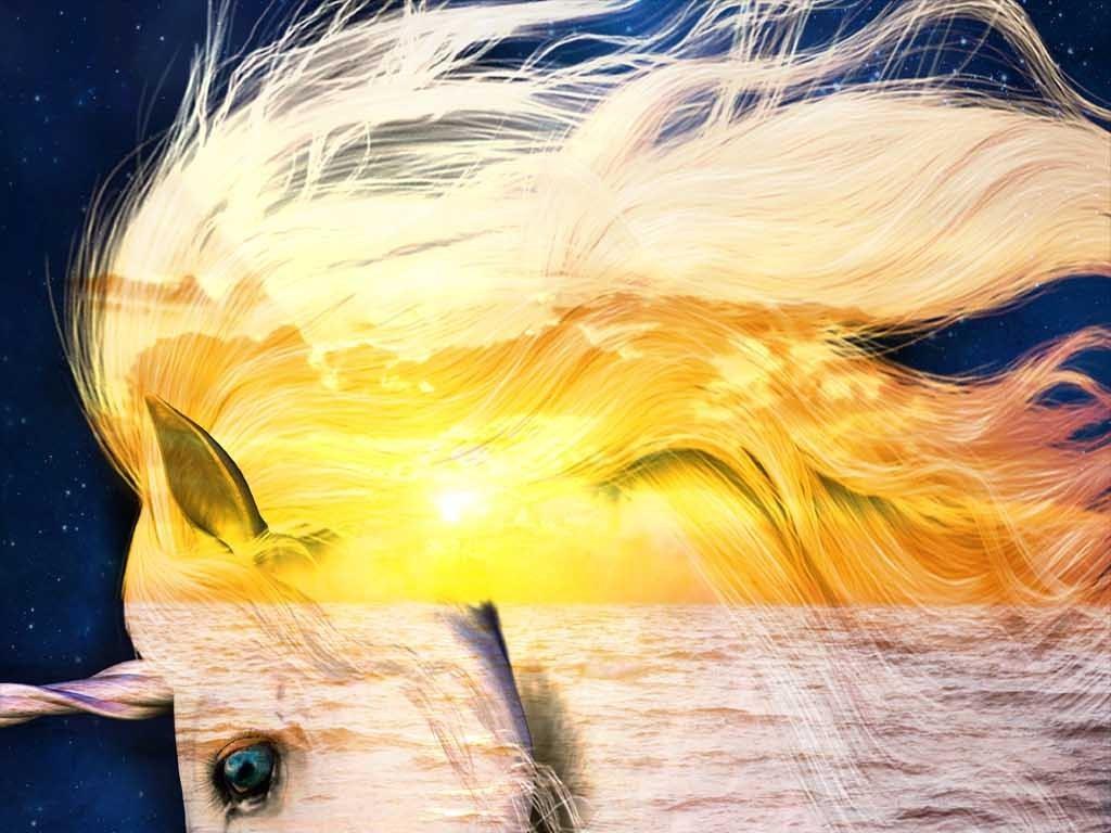 水彩手绘动物画马玄关油画玄关欧式油画梦幻现代背景梦幻背景独角兽