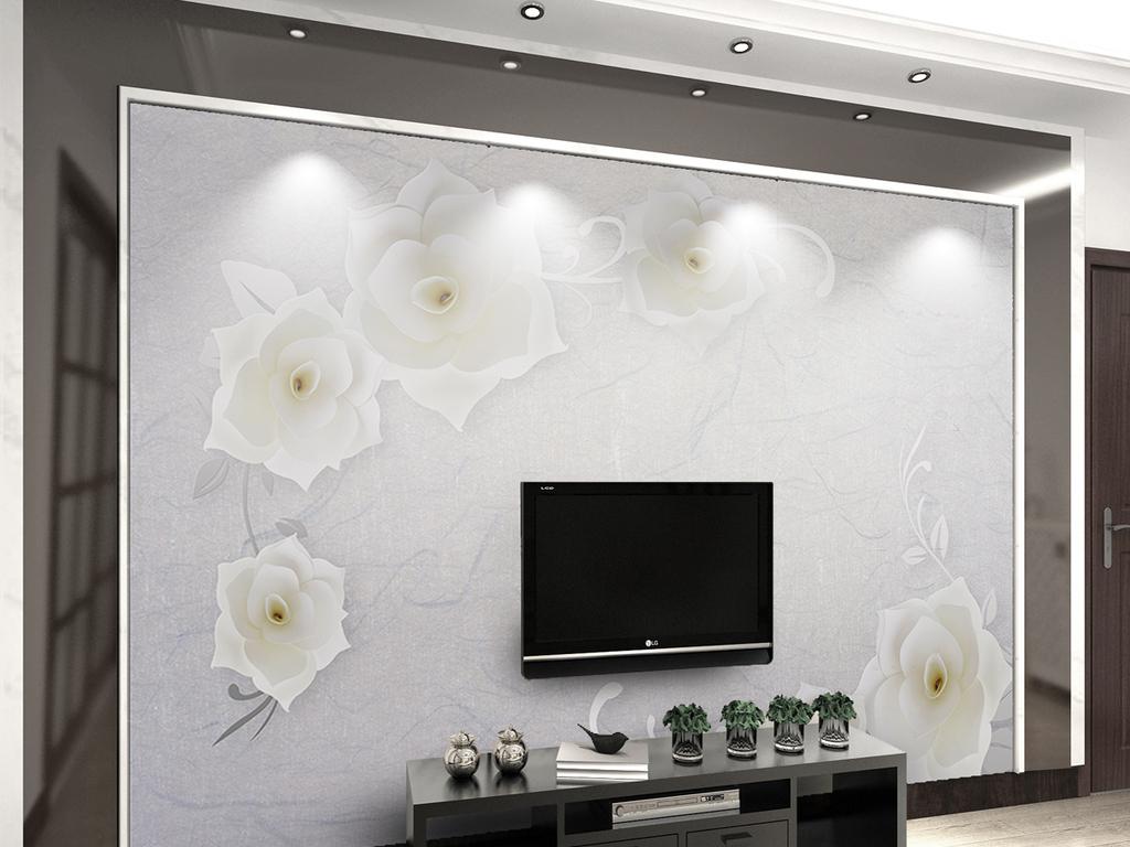墙手绘北欧简欧简约白现代时尚玄关欧沙发电视背景花朵现代背景立体