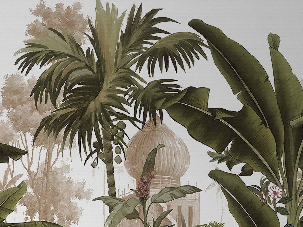 中世纪手绘怀旧热带植物背景墙