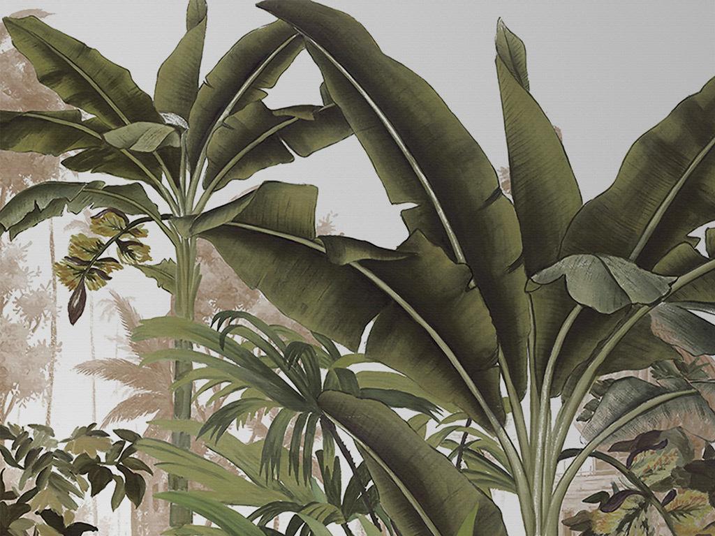 欧式手绘热带植物复古怀旧背景墙