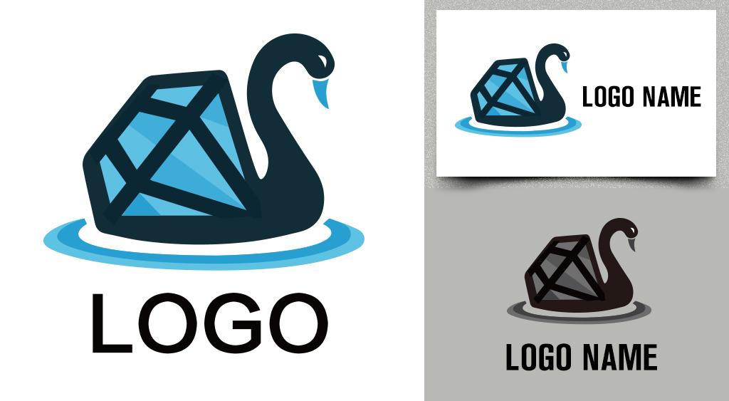 设计作品简介: 珠宝配饰logo创意天鹅钻石高端大气标