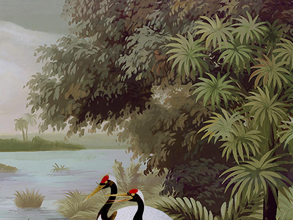欧式手绘热带植物白天鹅怀旧背景墙