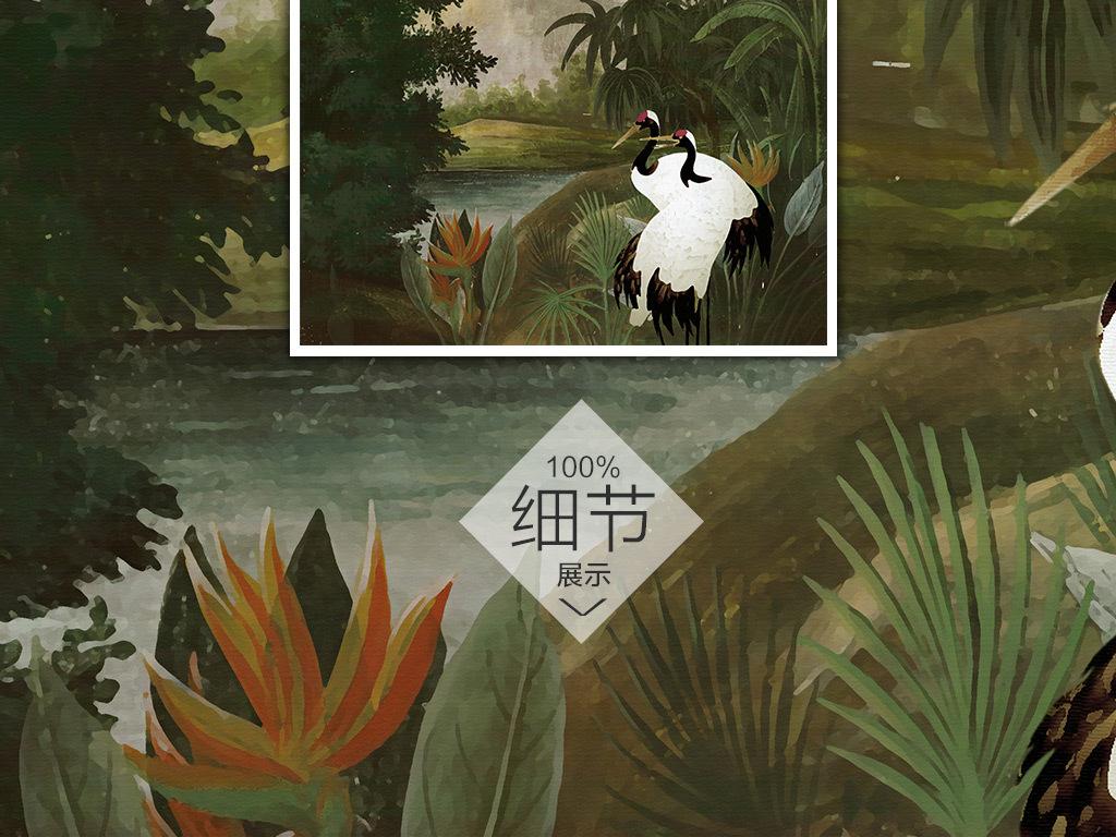欧式背景墙手绘                                  热带雨林手绘