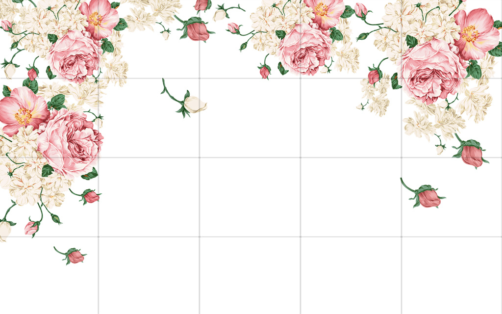手绘牡丹花卉背景墙