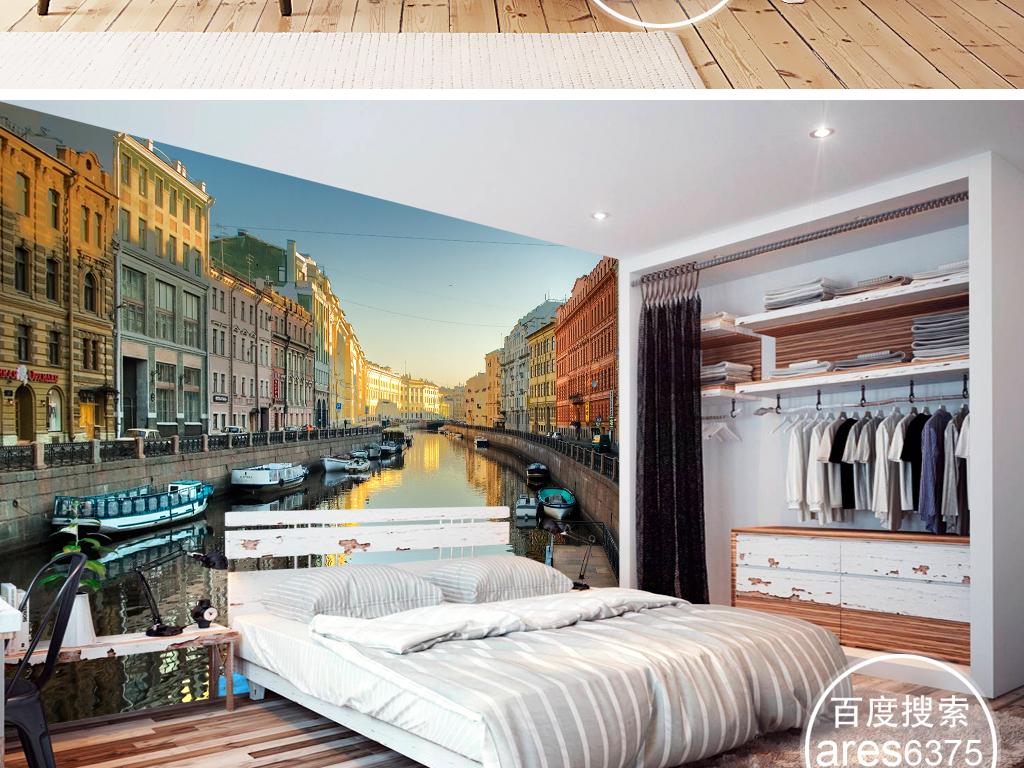 现代时尚简约欧式运河码头船威尼斯伦敦壁画