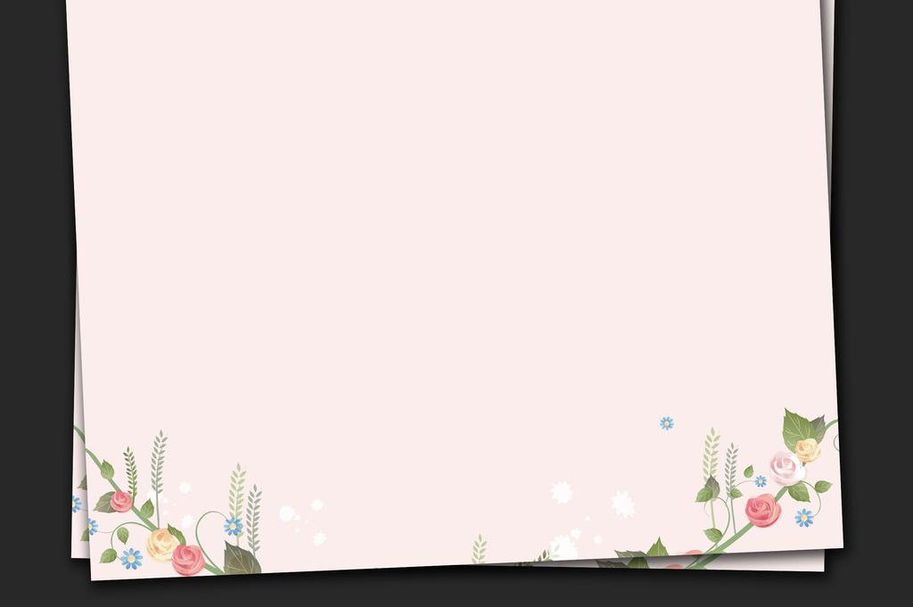 手绘花卉粉色玫瑰淡彩绿色信纸简历背景