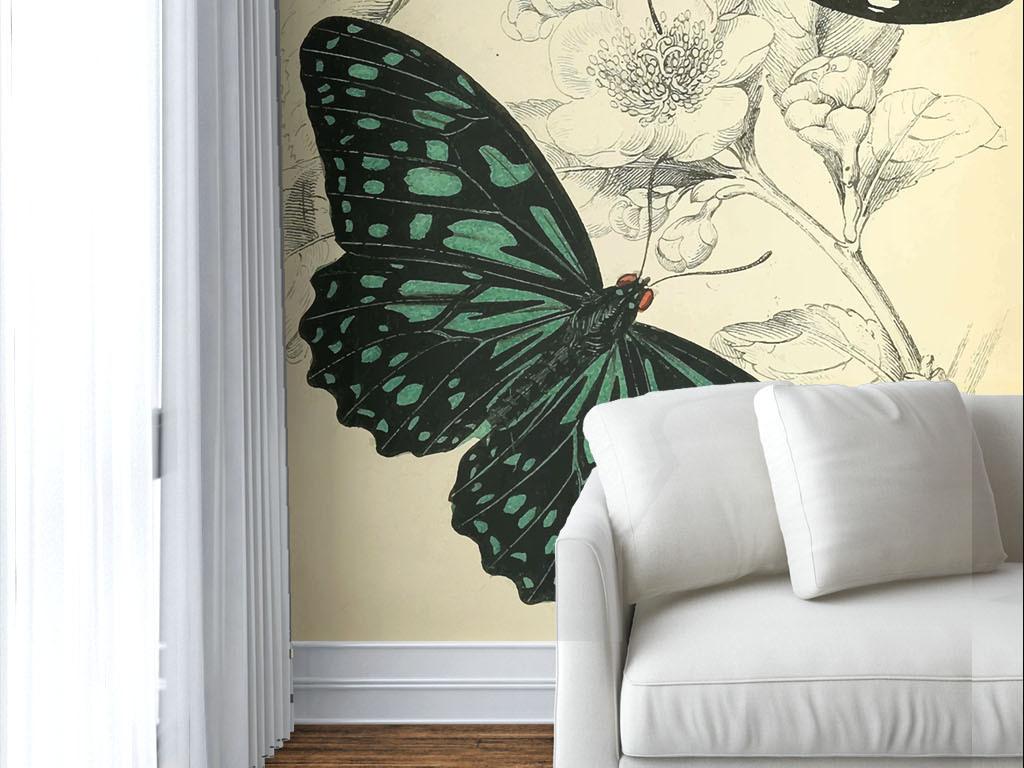 美式风格手绘花蝴蝶墙纸