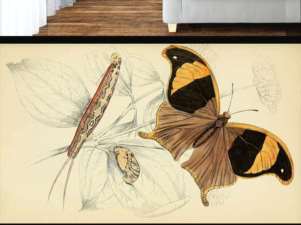 美式风格手绘蝴蝶植物墙纸