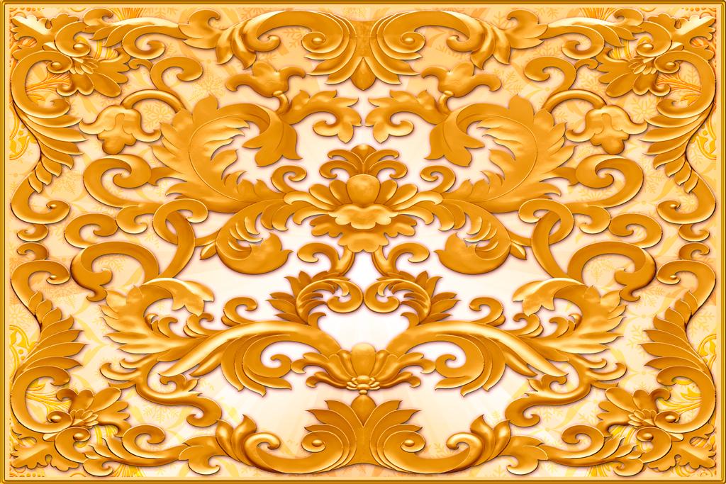 浮雕欧式花纹酒店前台大堂背景墙天花吊顶天顶金碧辉煌中式花纹图片