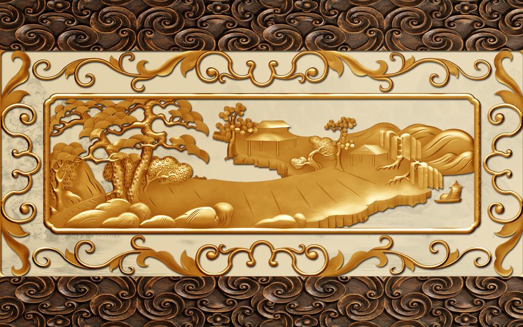 浮雕山水迎客松窗格花纹木雕酒店前台大堂背景墙