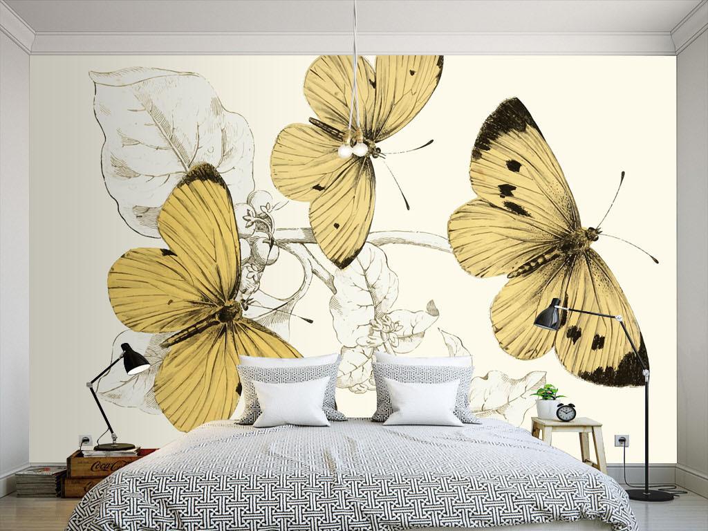 美式风格淡雅清新手绘黄色蝴蝶墙纸